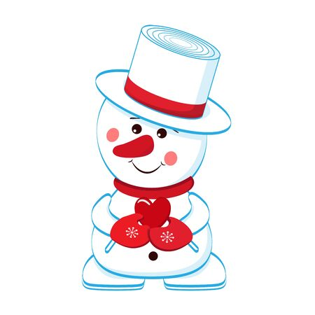 Cheerful snowman with a heart in his hands. Separately on a white background. Vector