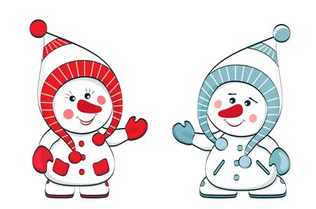 Two cheerful snowmen in red and blue clothes isolated on white background. New Year. Christmas. Vector Ilustração