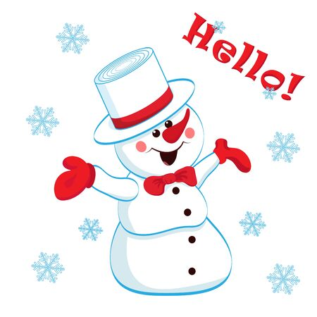 Cheerful snowman in a hat and mittens isolated on white background, snowflakes and inscription hello. Vector