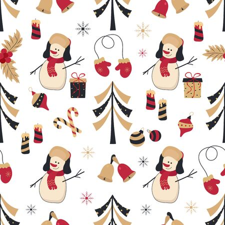 New Year, Christmas seamless pattern with a snowman and Christmas elements in golden red colors. Vector