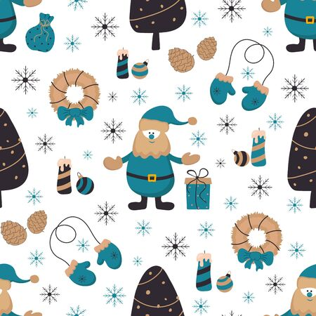 New Year, Christmas seamless pattern with Santa Claus and new year elements. Vector