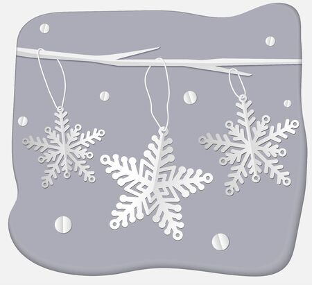 White paper snowflakes on a branch. Vector
