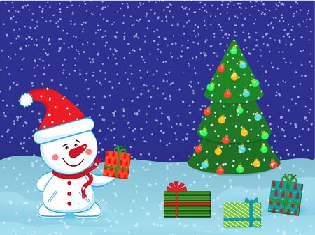 Christmas New Year card with a cheerful snowman and gifts for congratulations or invitations. Vector Ilustração