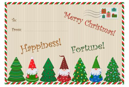 Christmas New Year card with Santa Claus and Christmas trees for congratulations or invitations. Vector