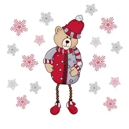 New Years bear toy and snowflakes. Vector illustration. Teddy New Years bear and snowflakes. Vector illustration.Vector Ilustração