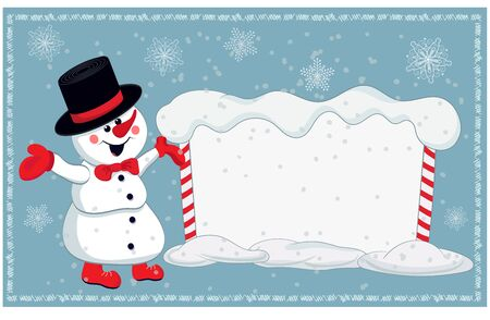 Christmas card for invitation or congratulation with a cheerful snowman and snowy billboard. Vector