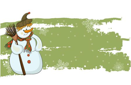 New Year vector banner. Snowman with a broom on a green background. Vector