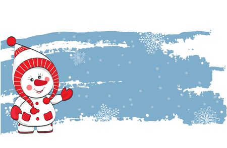 New Year vector banner. Snowman in a hat on a blue background with snowflakes. Vector Ilustração