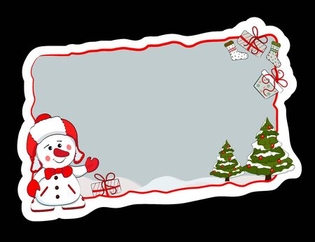 New Year sign, frame, banner with a snowman, Christmas trees and gifts. Vector