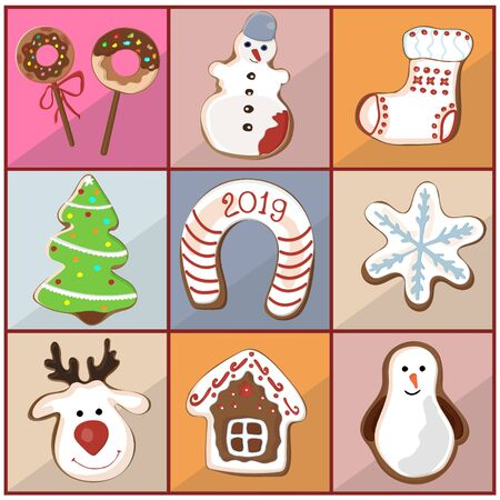 A set of curly gingerbread, cookies for Christmas, New Year. Teddy New Years bear and snowflakes. Vector illustration.Vector Ilustração