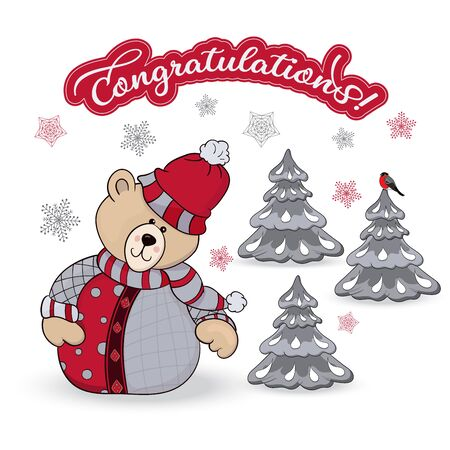 Congratulatory illustration with a kind teddy bear in a snowy forest and the inscription Congratulations. Vector Ilustracja