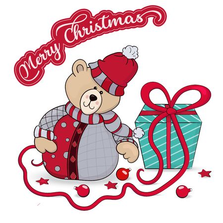 Congratulatory illustration with a kind teddy bear with a gift box and the inscription Merry Christmas. Vector