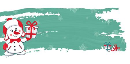 New Year, Christmas vector banner with a snowman and gifts. Vector Ilustração