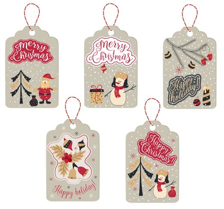 Christmas labels with New Year attributes, Snowman, Santa Claus, toys and words Merry Christmas and a happy holiday. Vector Ilustração