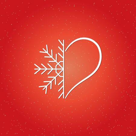 United halves of snowflakes and hearts. Vector Ilustração
