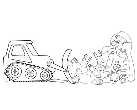 Black and white illustration. Cleaning the soil with a bulldozer from debris and industrial waste. Vector