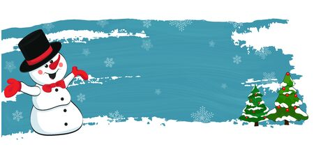 New Year, Christmas vector banner with a merry snowman and Christmas trees. Vector Ilustração