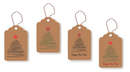 Tags with painted Christmas trees. Vector Ilustração