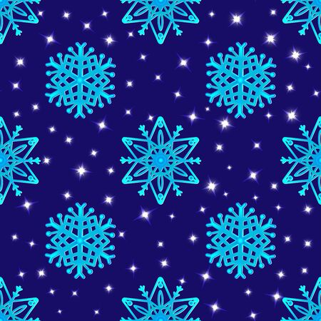 Snowflakes on a dark blue background and stars. Neon effect. Vector