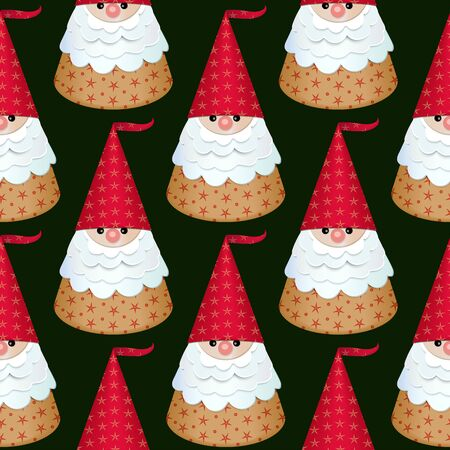 Seamless pattern. Paper Santa Claus in a red cap on a dark background. Vector
