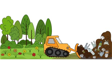 Cleaning soil and forests from debris and industrial waste. Landfill and clean nature after land reclamation. Vector