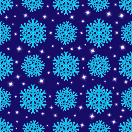Seamless background with neon snowflakes in the starry sky. Vector