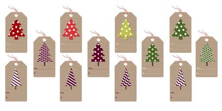 Set of Christmas labels with Christmas trees. Vector