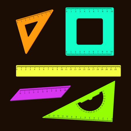 Set of colored school rulers on a black background. Vector