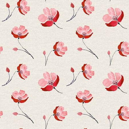 Seamless pattern with red watercolor flowers.