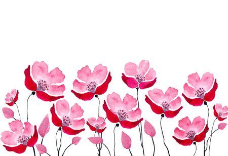 Lower borLower border of red summer watercolor flowers. Watercolor Banco de Imagens