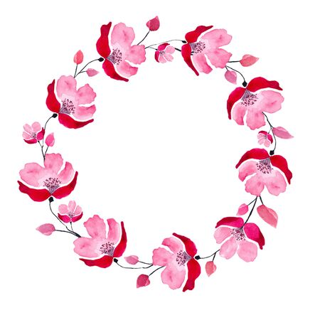 Simple wreath of red delicate watercolor flowers. Watercolor