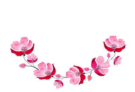 Half circle, wreath of red delicate watercolor flowers. Watercolor Banco de Imagens