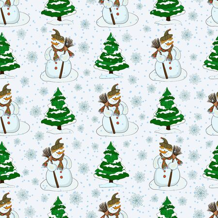 Seamless pattern with snowy Christmas trees, snowman and snow. Vector