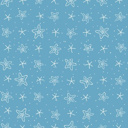 Seamless pattern with hand-drawn stars and snowflakes. Vector