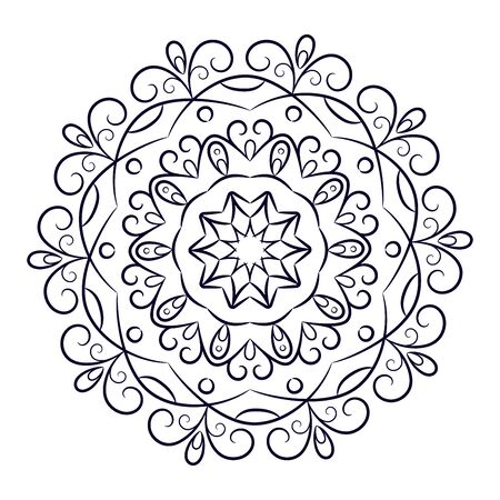 Round lace mandala, black and white coloring on a white background. Tattoo. Vector