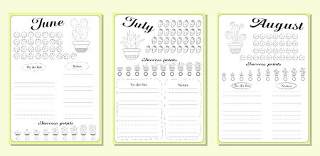 Sheets of business plans and a list of common activities in the summer months of June, July, August. Vector