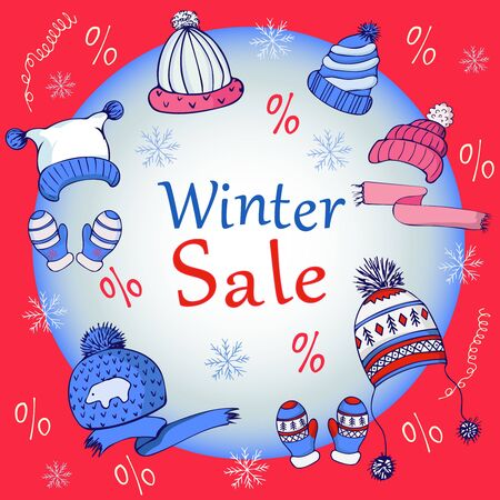 Set of hats and gloves in red, blue and white. Winter discounts. Vector Ilustração