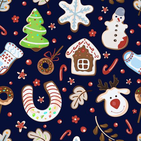 Christmas gingerbread cookie pattern, house, tree, snowman, deer sock snowflake Vector Ilustração