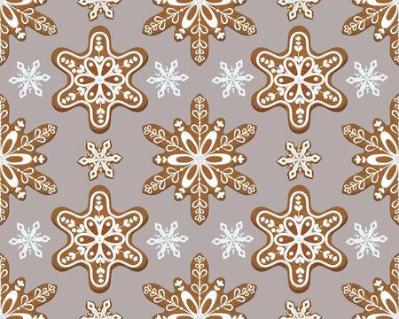 Openwork snowflakes on Christmas gingerbread cookie, seamless pattern. Vector