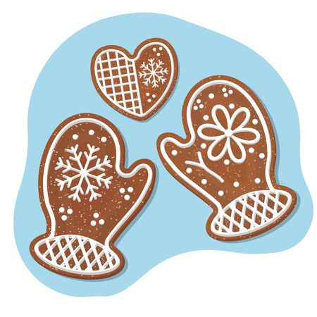Christmas gingerbread cookies in the form of little hands and hearts. 向量圖像