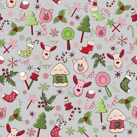 Pattern of New Year elements. Sweets, gingerbread, fir-trees, piglets, mistletoe, lollipops. Christmas. Vector Ilustração