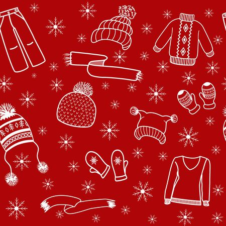 Pattern clothing white outline on red background. Vector Illustration