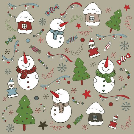 A set of New Year objects on a sand background. Snowmen, houses, snowflakes, Christmas trees. Vector