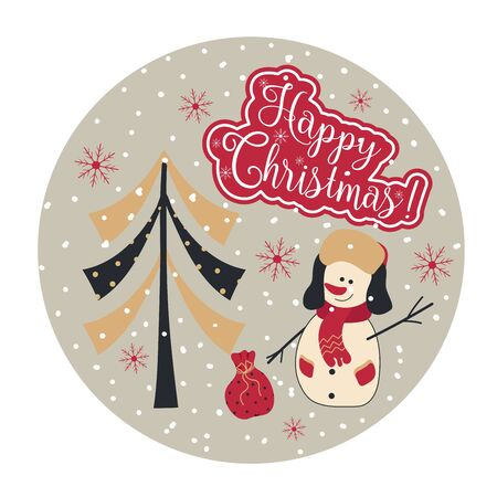 WebChristmas illustration in flat style with a snowman, Christmas tree and the inscription Merry Christmas. Vector