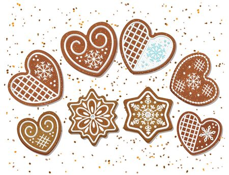 Christmas gingerbread cookies in the form of hearts and snowflakes.