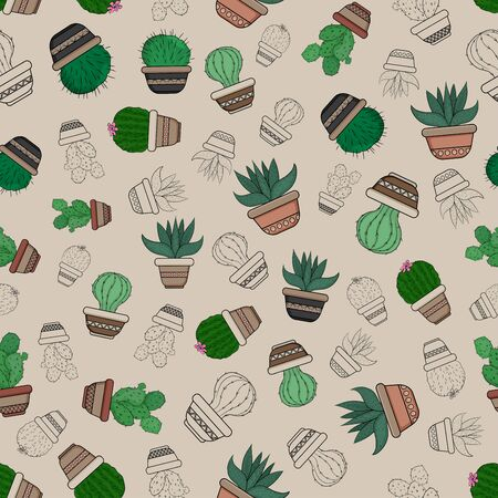 Cacti and succulents in pots on a seamless pattern. Ilustração