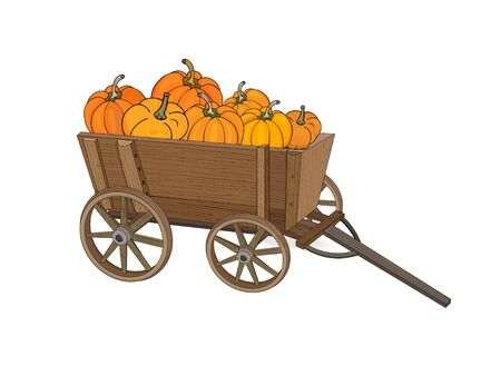 Wooden wagon with pumpkin harvest on a white background. Vector illustration