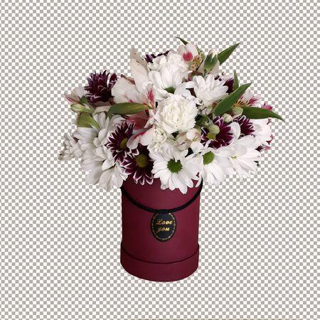 Bouquet of flowers in designer packaging.