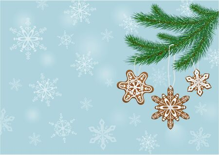 Christmas, New Year banner with gingerbread cookies on fir branches and snowflakes on a blue background. Combination of vegetables in the garden. Vector Banco de Imagens