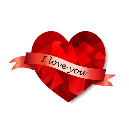 Red shiny low poly heart with congratulatory ribbon and the inscription I love you. Vector
